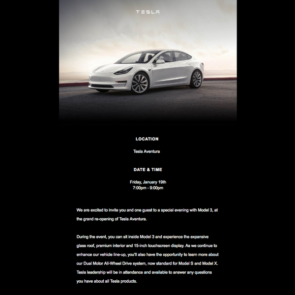 Check Out This Soirée For The Tesla Model 3 At Aventura Mall
