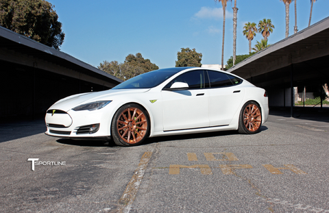 Tesla Model S TS112 forged 21 inch aftermarket wheels uber rose