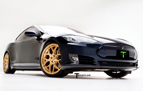 Tesla Model S TS117 forged 21 inch aftermarket wheels ghost gold