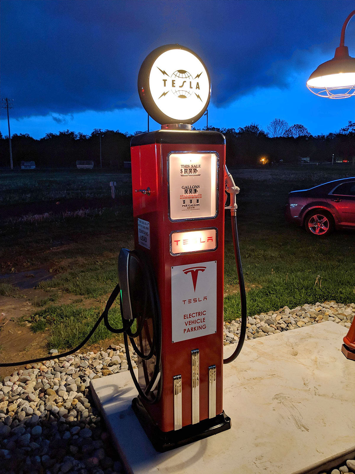 The retro styled Tesla Destination Charger at The Inside Scoop.
