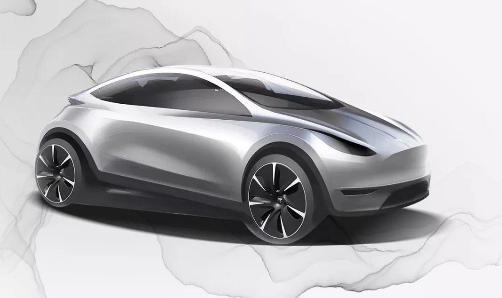 Illustration of a compact Tesla hatchback, posted by Tesla China with the job postings for the Shanghai Tesla Design Center.