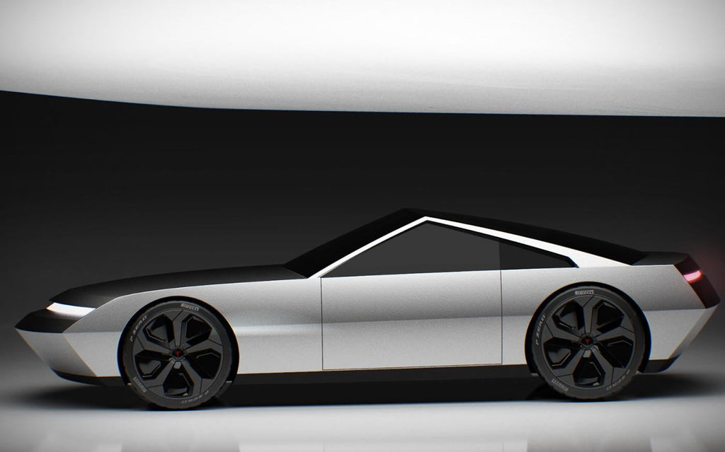 Tesla Cyber Roadster concept design based on the Cybertruck (side view).
