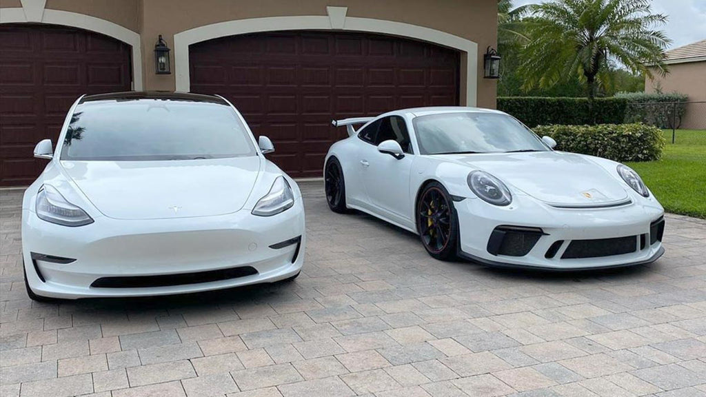 Tesla Model 3 Performance and Porsche 911 GT3 side-by-side.