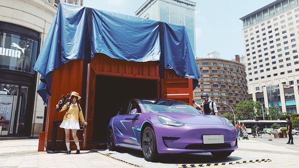 Real-world Tesla Model 3 wrapped in 'Awesome Purple' color from the Game For Peace (Chinese PUBG).