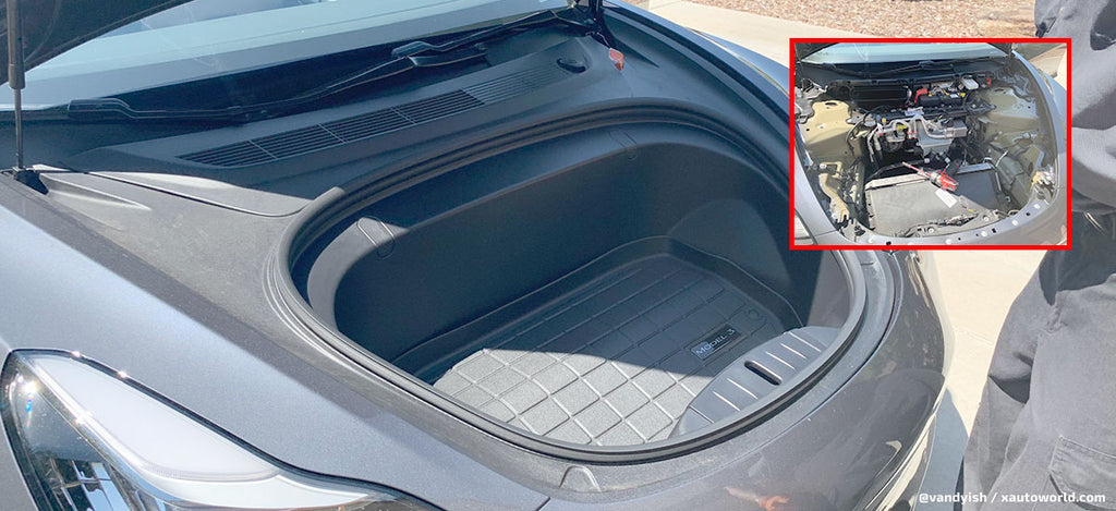See what's under the 'frunk' of a Tesla Model 3 | EVANNEX