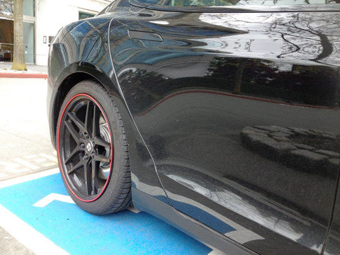 Tesla Model S red wheel bands