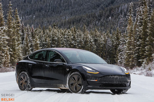 Black Tesla Model 3 in Snow - Front View