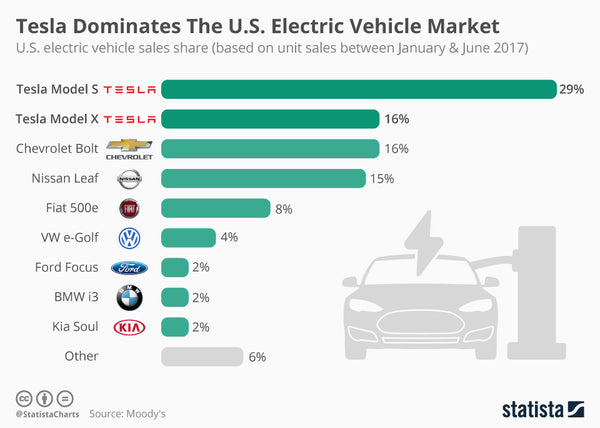 Tesla continues to dominate the electric vehicle market ...