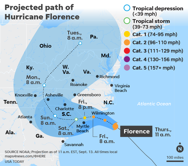 Hurricane Florence's path as of Sep 13, 2018