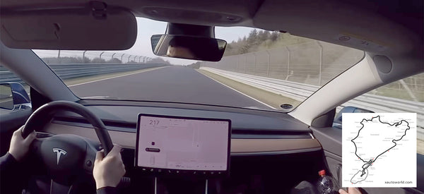 Tesla Model 3 Performance at the Nürburgring race track.