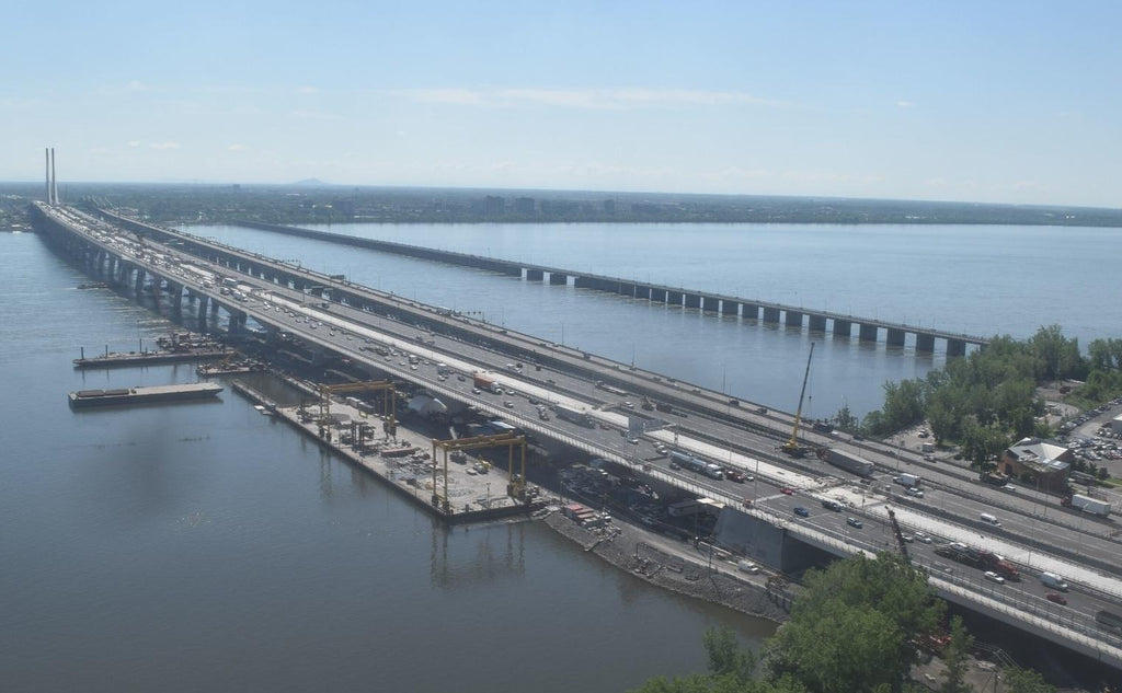 Montreal's Samuel de Champlain Bridge bridge opened for northbound traffic - aerial view.