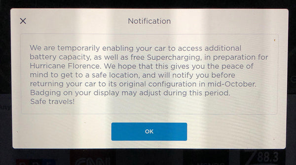 Tesla's notification for additional range and Supercharging for Hurricane Florence preparation