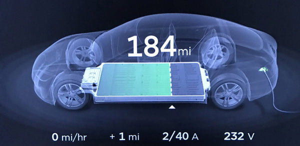 Tesla Vehicle charging progress display