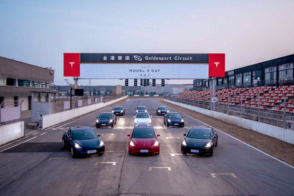 The Tesla Model 3 gang at the Goldenport Race Circuit in Beijing, China