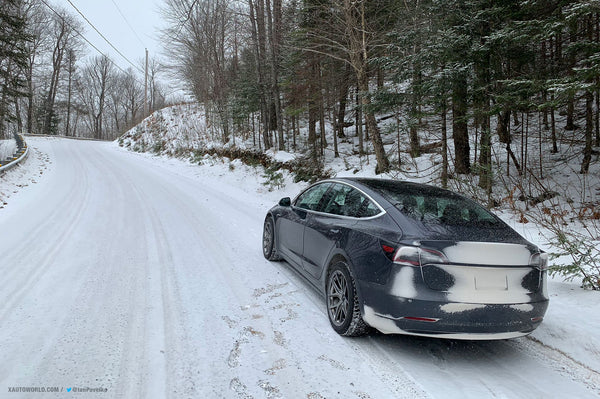 Tesla Model 3 Performance (Magneto) on its way for the snow rally.