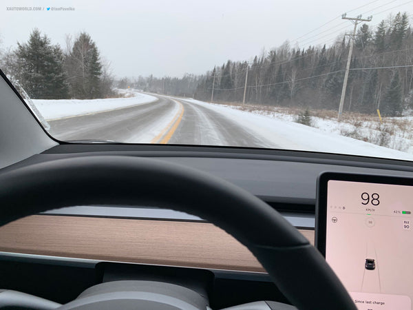 Tesla Model 3 Performance snow rally race - view from inside the car of the path ahead