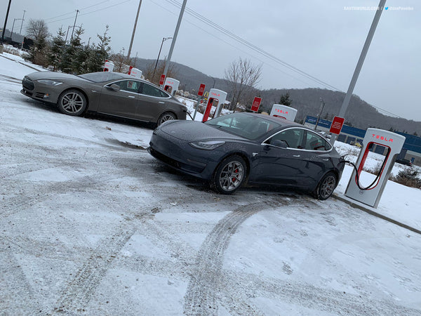 Tesla Model 3 Performance Supercharging before the start of the race