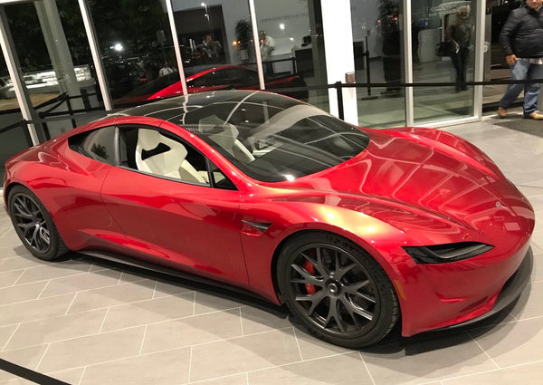 Next-gen Telsa Roadster in red color at a Tesla facility