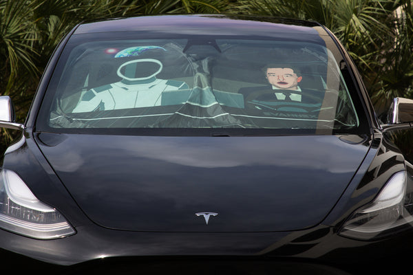 Elon and Starman Sunshade for the Tesla Model 3