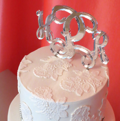 Acrylic Monogram Cake Topper Wedding Anniversary Birthday