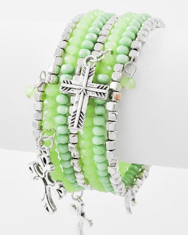 Green Spiral Cross Bracelet