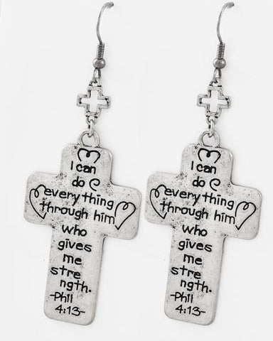 Phil 4:13 Cross Earrings