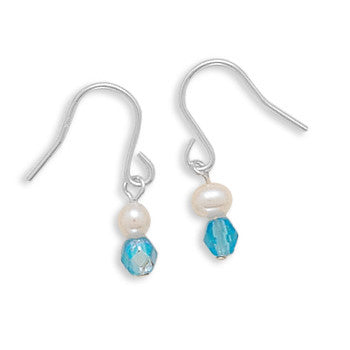 Cultured Freshwater Pearl and Blue Czech Glass Earrings on French Wire