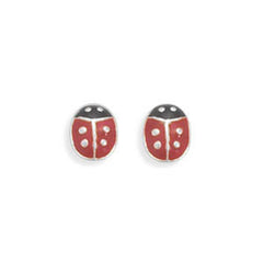 Red and Black Enamel Ladybug Post Earrings
