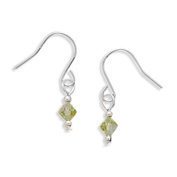 Lime Green Crystal Earrings on French Wire