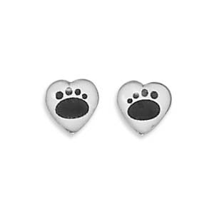 Heart Stud Earrings with Paw Prints