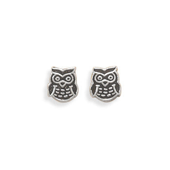 Oxidized Owl Earrings