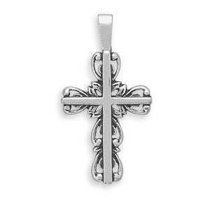 Cross with Scroll Outline