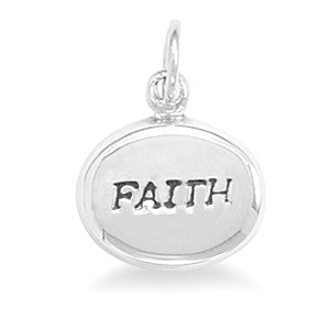 "Oval Hollow ""FAITH"" Charm"