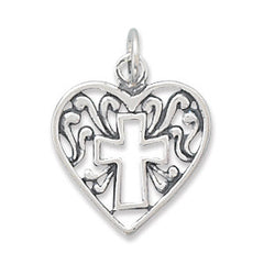 Heart Charm with Cross Outline