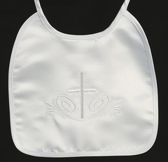 Embroidered Satin Christening Bib - Boy