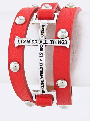 Bracelet Bible Verse Red - wrap bracelet