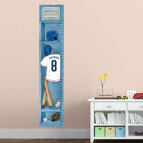 Personalized Sports Locker Growth Chart for Boys - Baseball Height Chart