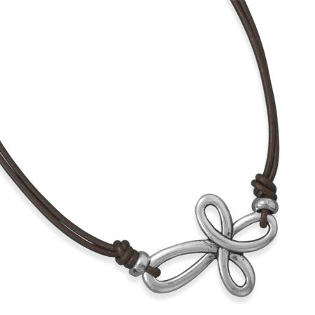 "16"" Double Strand Leather Cross Fashion Necklace"