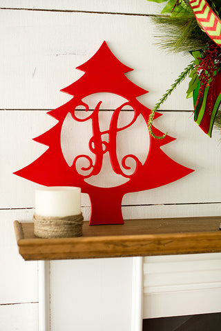 "18"" Christmas Tree Wood Monogram"
