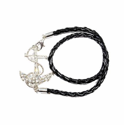 Anchor Bracelet in Leather with Rhinestones - Black