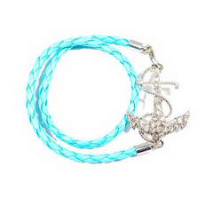 Anchor Bracelet in Leather with Rhinestones - Blue