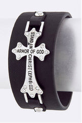 Bible Cross Quote Leather Cuff
