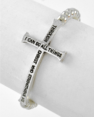 Bible Verse Stretch Bracelet silver