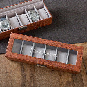 Men's Watch Box Crocodile Design with Engraved Name