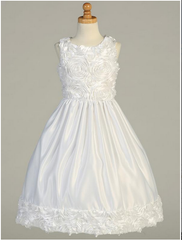 All White Communion Dress Floral Bodice