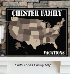 Personalized Family Map - mark your vacations on the map