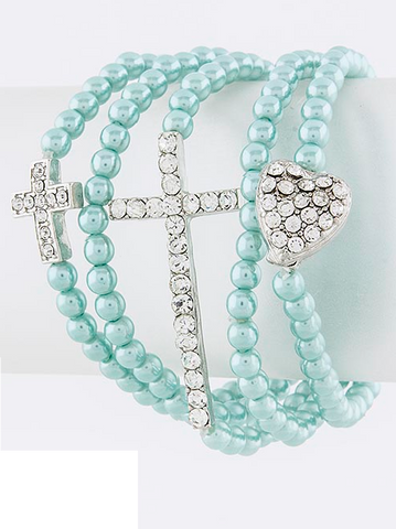 Cross and Heart Stack Bracelet