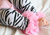 Zebra Leg Warmers with Light Pink Chiffon
