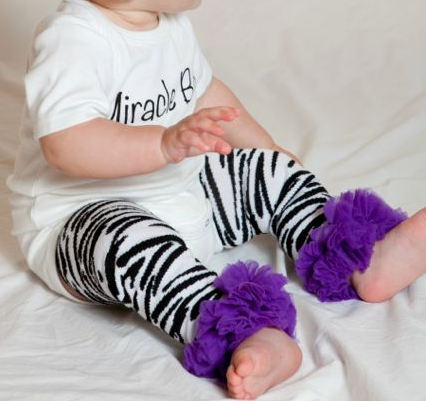 Zebra Leg Warmers with Purple Chiffon