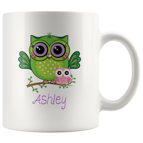 Girly Owl Coffee Mug with Personalized Name - Gifts for Women